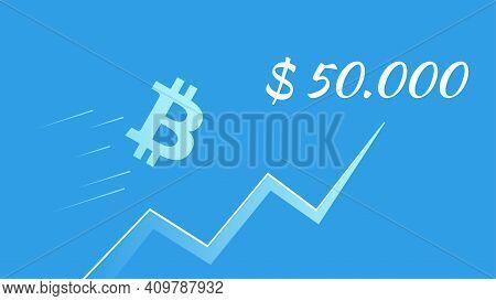 Bitcoin Btc Flies Towards 50000 Dollars On Blue Background. Upward Trend Arrow. Vector Illustration