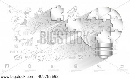 Light Bulb Idea Connect Jigsaw Pieces. Plan Think Analyze Creative Startup Business. Illustration Cr
