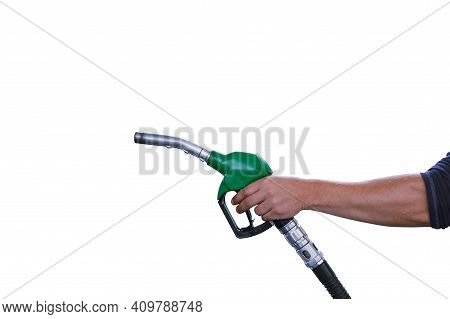 Man Holds A Refueling Gun In His Hand For Refueling Cars Isolated On White Background. Gas Station W