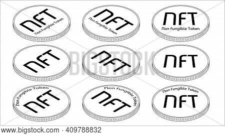 Set Of Isometric Outline Coins Nft Non Fungible Tokens Isolated On White. Pay For Unique Collectible