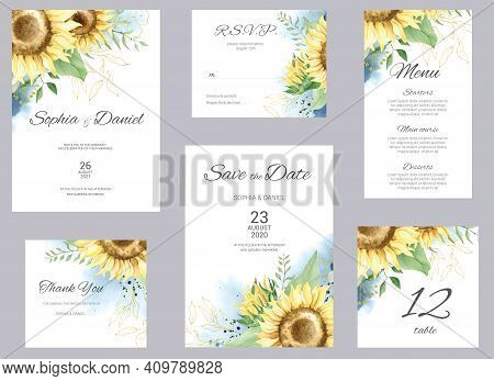 Watercolor Wedding Invitation Cards. Floral Poster, Invite. Elegant Wedding Invitation With Watercol