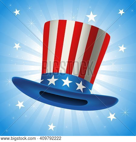 American Hat, Vector Illustration Of Uncle Sam Hat For President's Day, Vote, Presidential Election,