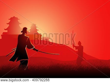Illustration Of Two Samurai In Duel Stance Facing Each Other On Grass Field