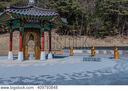 Chungbuk, South Korea;feb.21, 2021: Special Bell Pavilion And Statues Of Buddhist Monks At Songnisan