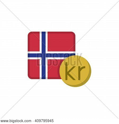 Norwegian Krone Money And Flag Flat Icon, Vector Sign, Norway Currency With Flag Colorful Pictogram