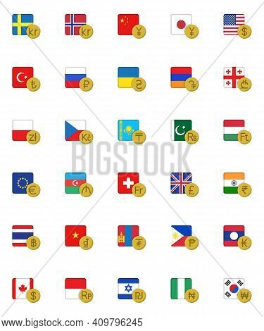 Currency Money With Flag Collection, Foreign Money Flat Icons Set, Colorful Symbols Pack Contains -