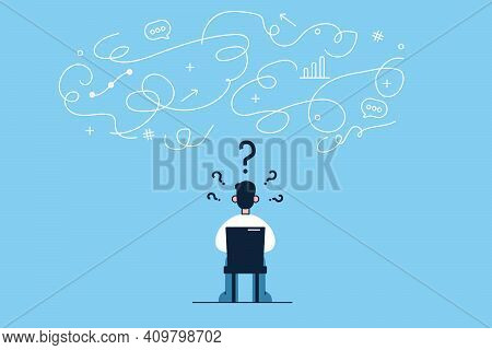 Innovation, New Ideas, Creativity Concept. Young Businessman Cartoon Character Sitting Backwards On