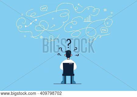 Innovation, New Ideas, Creativity Concept. Young Businessman Cartoon Character Sitting Backwards On