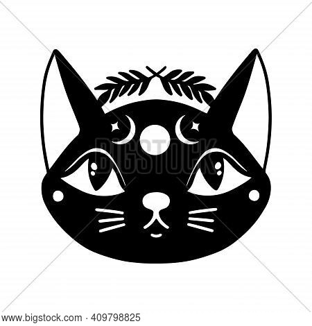 Cat Face Witch Mystic.animal Head Isolated In White Background.wiccan Esoteric Boho Kitten.v