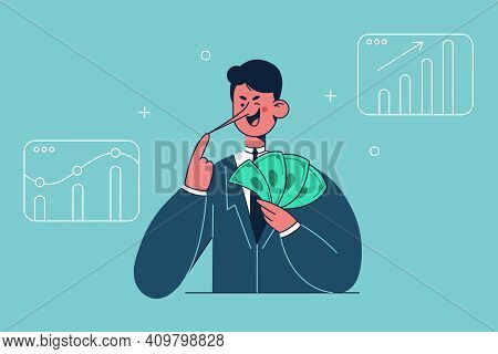 Fraud In Finance, Corruption, Making Money On Deception Concept. Smiling Liar Businessman Cartoon Ch