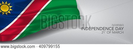 Namibia Independence Day Vector Banner, Greeting Card.
