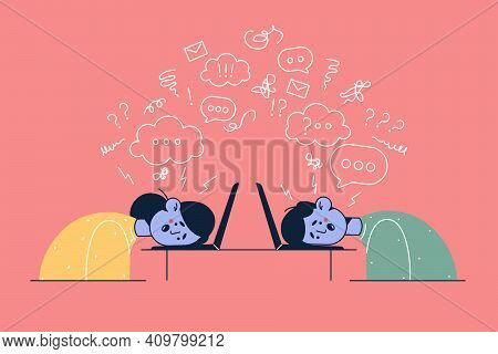 Burnout, Stress At Work, Exhaustion Concept. Overworked Exhausted Office Workers Woman And Man Lying
