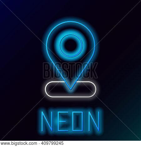 Glowing Neon Line Map Pin Icon Isolated On Black Background. Navigation, Pointer, Location, Map, Gps