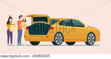 Man And Woman With Face Mask Holding Grocery Bags Next To The Trunk Of The Sedan Car. Vector Flat St