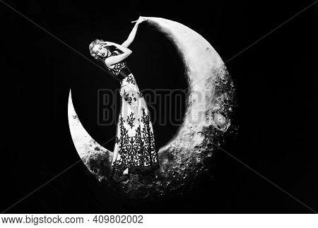 Beautiful Young Woman In Evening Elegant Dress With Lace. Fashion Night Dress. Beautiful Young Women