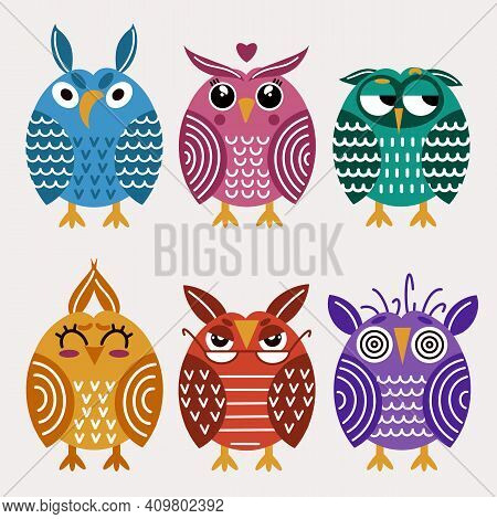 Vector Icons Of Owls, Isolated Bright Owls On A White Background