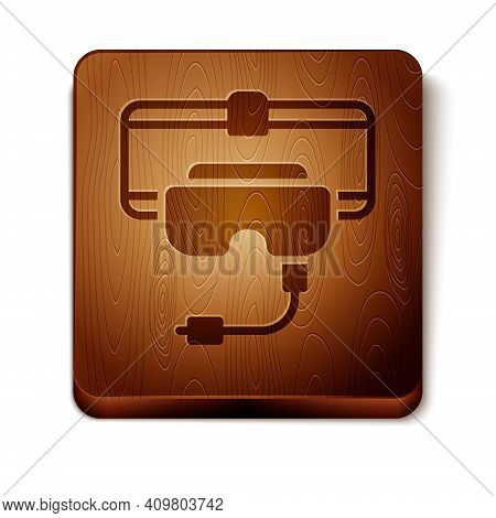 Brown Virtual Reality Glasses Icon Isolated On White Background. Stereoscopic 3d Vr Mask. Wooden Squ