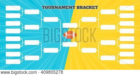 16 American Football Team Tournament Bracket Championship Template Flat Style Design Vector Illustra