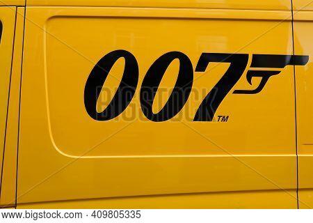 Bordeaux , Aquitaine France - 02 16 2021 : Dhl 007 James Bond Gun Logo Sign Cinema Movie On Side Tru