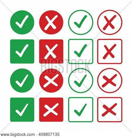 Checkmark And X Mark Icon. Check And Uncheck Icon Vector. Validation Icon Vector. For Apps And Websi