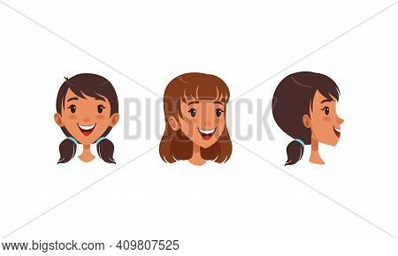 Cute Heads Of Girl In Different Views And Hairstyle Set, Joyful Girl In Front, Profile Side, Three Q