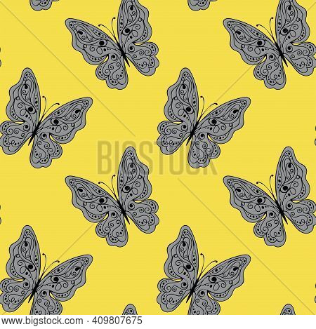 Seamless Pattern With Lace Butterflies. Pantone Colours. Vector Illustration