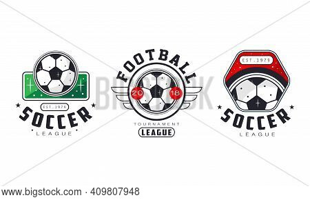 Soccer Football League Logo Set, Sports Team Identity, Championship, Game Tournament Retro Badges Te