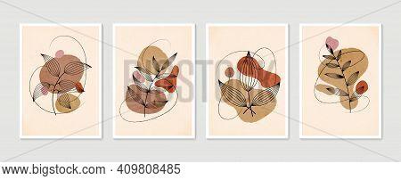 Botanical Wall Art Vector Set. Minimal And Natural Wall Art. Boho Foliage Line Art Drawing With Abst