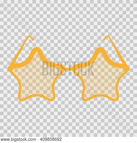 Star-shaped Cartoon Sunglasses. Flat Vector Illustration