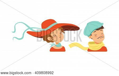 Portraits Of Young Man And Woman In Retro Headgears Set, Girl Dressed In Wide Brim Hat And Boy In Bl