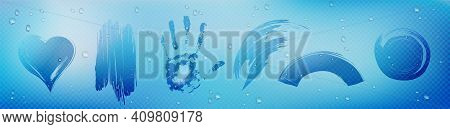 Wipe Stains On Glass With Condensation Water Drops, Palm, Heart And Abstract Imprints On Window. Win