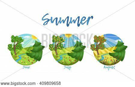 Summer Season Nature Landscape Set, June, July, August Months Of The Year Cartoon Vector Illustratio