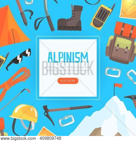 Alpinism Landing Page Template, Mountaineering, Mountain Climbing And Adventure Web Page Interface C