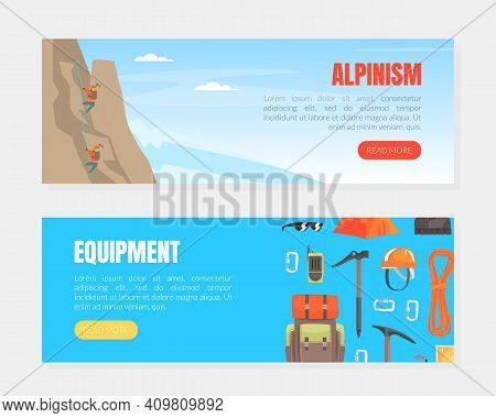 Alpinism Equipment Landing Page Templates Set, Hiking Accessories And Garments Shop Cartoon Vector I