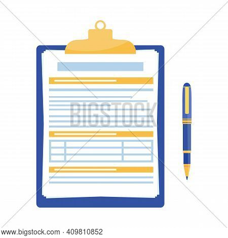 Clipboard With Document And Pen Isolated On White Background. Filling Insurance Claim Form, Paperwor