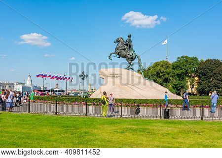 St. Petersburg, Russia - August 2019: Monument To Peter The Great (first) On Senate Square