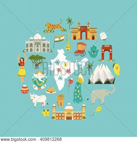 Travel Poster With Famous Destinations And Landmarks Of India
