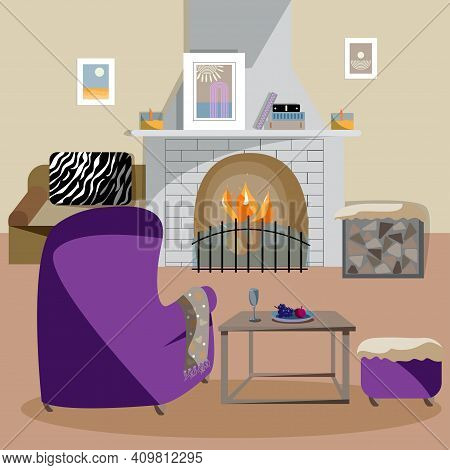 Great Design Of The Living Room With A Fireplace And A Cozy Armchair, Sofa And Ottoman. An Ideal Pla