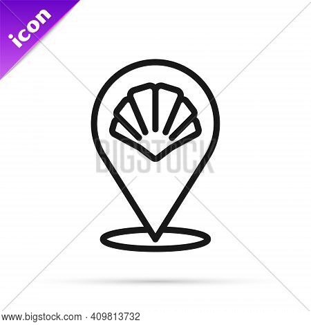 Black Line Scallop Sea Shell Icon Isolated On White Background. Seashell Sign. Vector