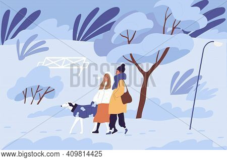 Couple Of People Walking With Dog In Winter Park In Cold Freezing Weather. Scene Of Happy Friends En