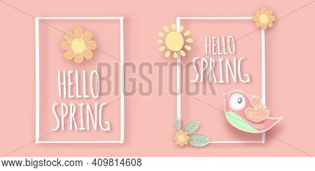 Hello Spring Label With Spring Birds And Flowers On A Soft Pastel Pink Background. Hello Spring Simp