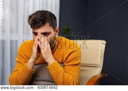 Frustrated Caucasian Man With Nervous Problem. Man Feel Anxiety And Confusion Of Thoughts. Chronic F