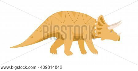 Side View Of Triceratops Dino. Extinct Dinosaur With Frill And Horns On Head. Reptile Of Ancient Jur