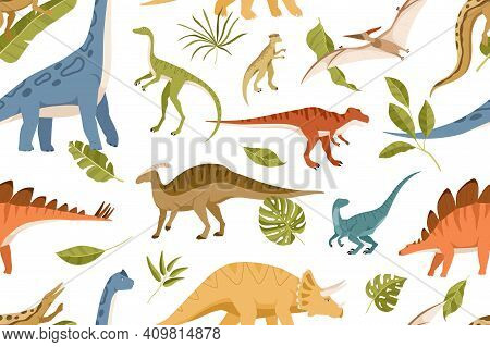 Seamless Pattern With Dinos And Leaves On White Background. Kids Design Of Endless Texture Of Jurass