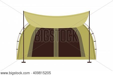 Front View Of Canvas Tent With Dome-shaped Roof And Canopy Isolated On White Background. Shelter For