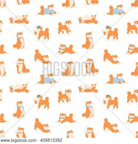 Seamless Pattern With Funny Shiba Inu Dogs In Various Postures. Endless Design With Friendly Akita I