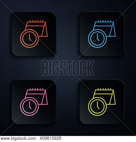Color Neon Line Calendar And Clock Icon Isolated On Black Background. Schedule, Appointment, Organiz