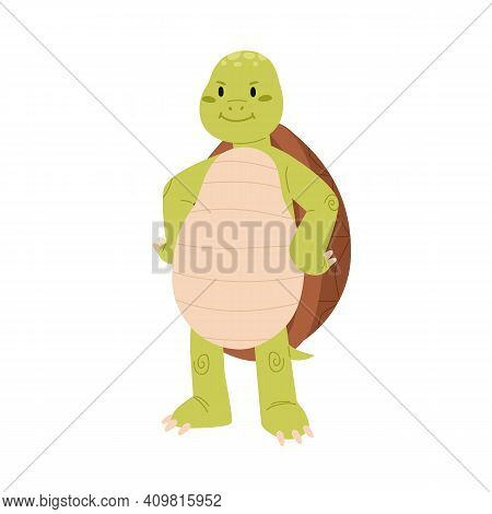 Cute And Happy Green Turtle With Paws On Hips. Funny Smiling Tortoise Character Standing On Back Paw