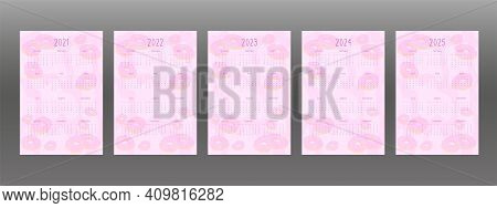2021 2022 2023 2024 2025 Calendar Set For Personal Planner And Notebook. Pink Donuts With Cream Icin