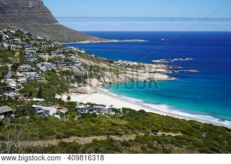 View Of Coastline Of Cape Town, South Africa And Table Mountain, With Blue Ocean